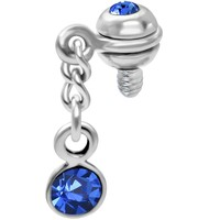 Inset Ball Sapphire Gem Dangling Dermal Anchor Top