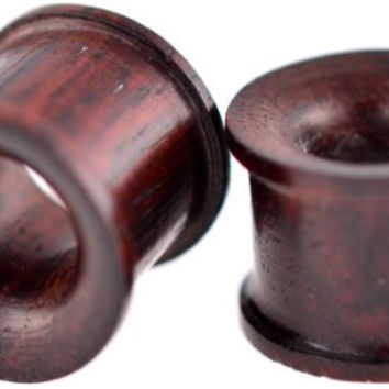 Pair of 00 Gauge 9 mm Organic Sono Wood Concave Double Flat Flared Tunnel Plugs