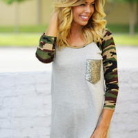 Gray Camo Top with Sequined Pocket