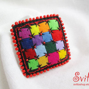 Brooch Patchwork Style | Color Brooch | Beaded Broach | Textile Art | Creative Fashion | Rainbow | Red, Yellow, Black, Green, Blue