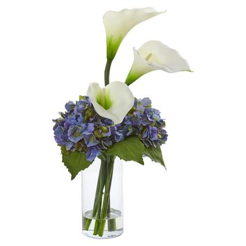Artificial Flowers -Calla Lily and Hydrangea White Arrangement