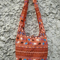 Cross body bag Shoulder Bags Boho Sling Hippies Ikat Aztec Gypsy Tribal Pattern elephant Style Fashion Chic Hobo Diaper Tote Bohemian Orange
