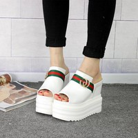 Summer Wedges Peep Toe Women's 13cm High Gucci Slippers