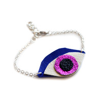 Eye Charm Leather Bracelet in Metallic Pink and Electric Blue | Boo and Boo Factory - Handmade Leather Jewelry