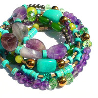 Beaded Bracelet Necklace,Amethyst,Aventurine,Jade,Turquoise,Pyrite,Hematite,Crystals,Blue,Green Lime,Mauve,Gold,925 Sterling Silver Findings