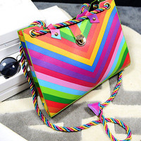 Hot Fashion Women New Rainbow Handbag Shoulder Tote Purse Satchel Hobo Stripe Bag
