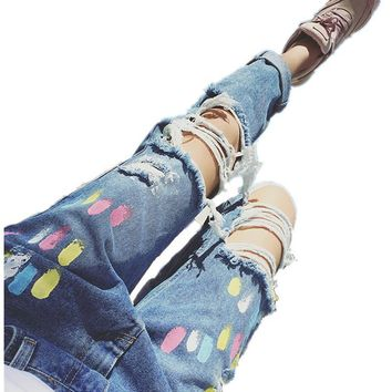 Women Clothing 2017 Summer Style Tie Dye Print Jeans Fashion Female Hole Ripped Casual Full Length Denim Pants TC009
