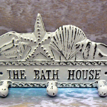 The Bath House Cast Iron 3 Hooks Starfish Sea Shell Triple Wall Hook Shabby Cottage Chic White Pool Lake Beach for Bathroom Mudroom Entryway