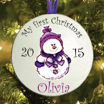 My first Christmas tree baby ornament - Personalized baby's 1ST Christmas present gift idea - Baby children keepsake Christmas ornament NOW