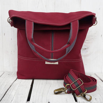 Canvas tote bag Burgundy crossbody foldover messenger bag shopping bag shoulderbag