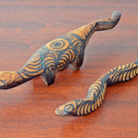 Vintage Aboriginal Australian Wood Carvings, Lizard Carving, Snake Carving