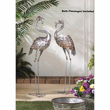One Proud and One Standing Tall Iron Flamingo Statue