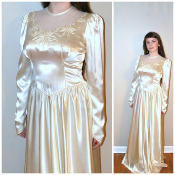 Vintage 40s Wedding Dress 1930s 1940s Liquid Satin Wed