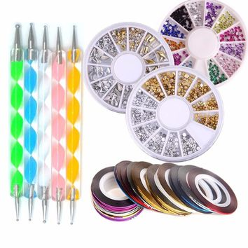 Bittb Nail Art Tools Set 10pcs Nail Rhinestones Rolls Dotting Pen Manicure Beauty Kit 3D Glitter Nails Crystal Decoration