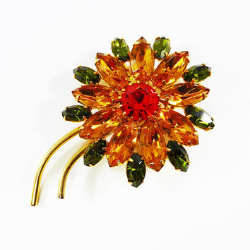Golden Rhinestone Flower Brooch Orange Chaton Faux Topaz Olivine Green Marquis Rhinestones Gold Tone Setting Vintage 1960s 1970s Mod Flowers