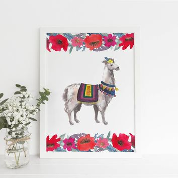 Llama Watercolor Floral Bohemian Art Print