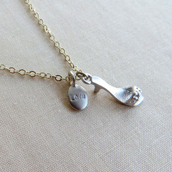 SALE: I Love Shoes Necklace - Silver Slipper Necklace - Shoe Pendant Necklace