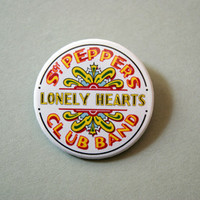 "The Beatles - Sgt. Pepper´s Lonely Hearts Club Band logo 1x1.5"" pinback button badge from Stickerama"