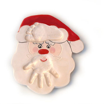 Baby's Christmas Ornament for infant up to 12months. Santa hand print ornament personalized / Gift Idea / Baby/ kids and pets