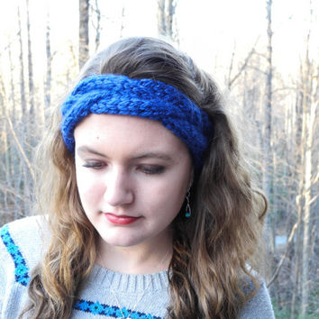 Chunky Headband // Knit Headband // Chunky Cable Headband // Royal Blue Ear Warmer // Cable Head Wrap