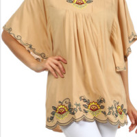 Velzera Floral Embroidery Scallop Hem Tunic Top - Beige