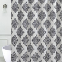 "Ornate Medallion Printed Faux Silk Shower Curtain with Roller Hooks (70"" x 72"")"
