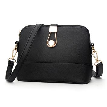 Women Leather Messegner Bags Vintage Retro Solid Color Small Shell Sling Shoulder Bags Zipper & Hasp Handbags Purses 2017
