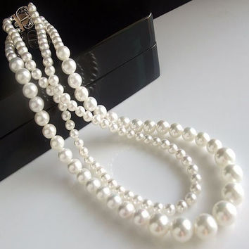 Bridal Pearl Seashell Bridesmaid Wedding Necklace and Earrings Jewelry Banquet-Earring Style Hook