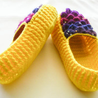 Crochet Yellow House Slippers - Adult Sizes - Rainbow Crocodile Stitch Loafers with Hemp Soles - Made to Order