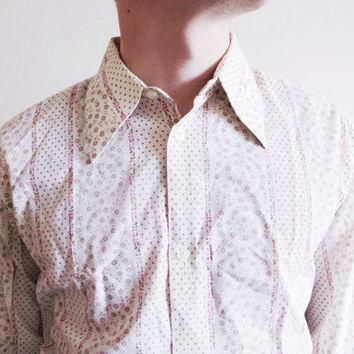 Vintage mens unisex button up down windsor shirt floral flower buttonup cotton retro o