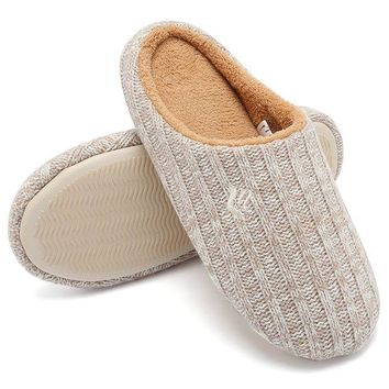 DCCKNY1 CIOR FANTINY Women's House Slippers Indoor Memory Foam Cashmere Cotton Knitted Autumn Winter Anti-Slip