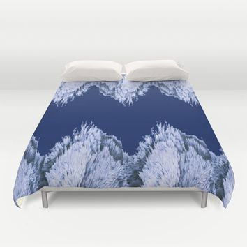 Season of the Chevron - Symmetry in Sapphire Duvet Cover by michael jon
