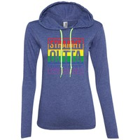 Straight Outta The Closet - Gay Pride LGBT T-Shirt-01  887L Anvil Ladies' LS T-Shirt Hoodie