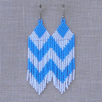 Blue White Chevron Earrings. Beaded Dangle Long Earrings. Beadwork