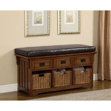 Coaster Furniture 501061 Oak Small Storage Bench with Upholstered Seat