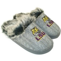 LSU Tigers Ladies Knit Slippers - Gray