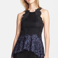 Women's 3.1 Phillip Lim Lace & Stretch Silk Peplum Top
