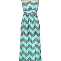 Two Tone Chevron Slinky Jersey Maxi Dress With Side Pocket