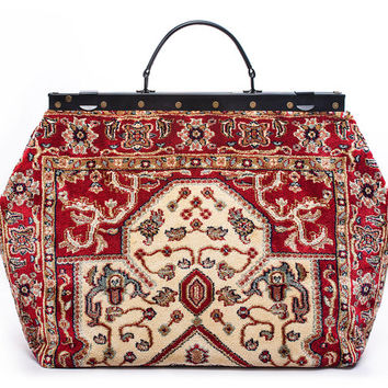 SALE SALE! Was 260 British Pounds, now 159.95 Carpet Gladstone Bag Sac-Voyage Firebird Light - large Mary Poppins, Victorian Sac-Voyage