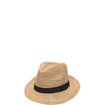 'ale by alessandra Women's Recife Crochet Raffia Fedora, Natural/Black, One Size