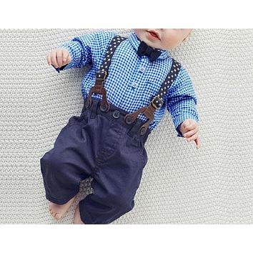 Baby Clothing New Spring Plaid Men's Clothing Set For Newborn Baby Bow Tie Shirt + Pants