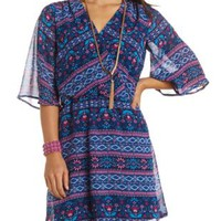 Folk Print Chiffon Surplice Dress by Charlotte Russe - Blue Combo