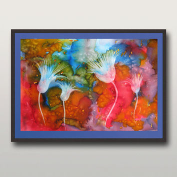 Colorful Wall decor - Large Art Print,   Watercolor Painting,  Landscape painting - Modern Abstract Painting