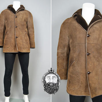 Vintage 70s Sheepskin Coat Shearling Lining Mens Outerwear Lambskin Shearling Jacket Brown Leather Piping Suede Fabric 1970s Clothing Winter