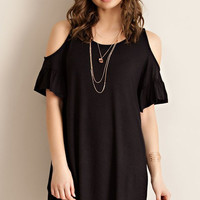 Bryne Cold Shoulder Ruffle Sleeve Dress