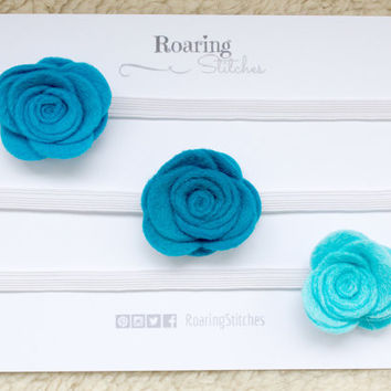 Blue felt rose hairband set