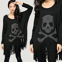 Women's Tassel Tops Skull Long Sleeve Ladies Batwing Blouse Hot selling New  F_B (Size: One Size, Color: Black) = 1946979972