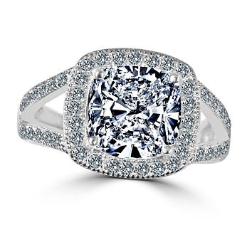 3 CT intensely Radiant Square Cushion Diamond Veneer Cubic Zirconia with Halo Pave Sterling Silver with Rhodium Electro Plate Ring. 635R0246