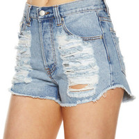 SURFSTITCH - WOMENS - JEANS - SHORTS - MINKPINK SLASHER FLICK DENIM SHORTS - DENIM