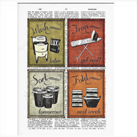Vintage Dictionary Funny Laundry Dictionary Art Print